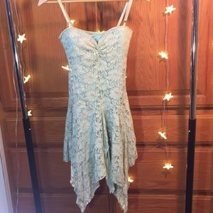 Pixie Hippie Mint Green Boho Lace Asymmetrical